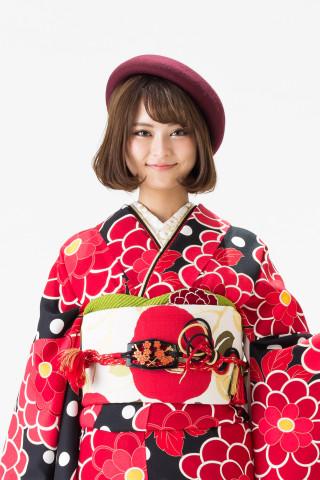 【14-246】黒・赤モダン牡丹総柄の衣装画像2