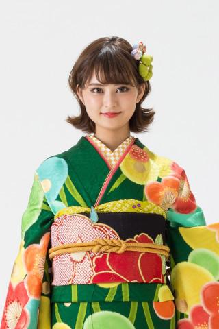 【15-261】earth music&ecology緑/赤・橙大梅・小鳥・縦黄緑らせんの衣装画像2