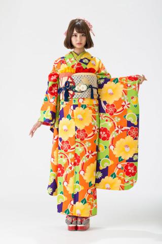 【15-323】黄緑・紫・オレンジ/梅・黄椿・橘・菊