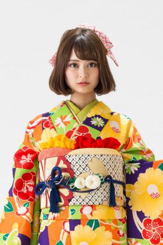 【15-323】黄緑・紫・オレンジ/梅・黄椿・橘・菊の衣装画像2