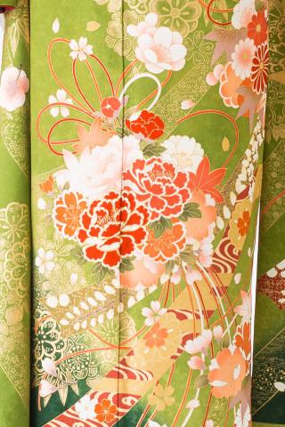 【14-181】抹茶・白染分/色花・緑花手毬・のしめの衣装画像3