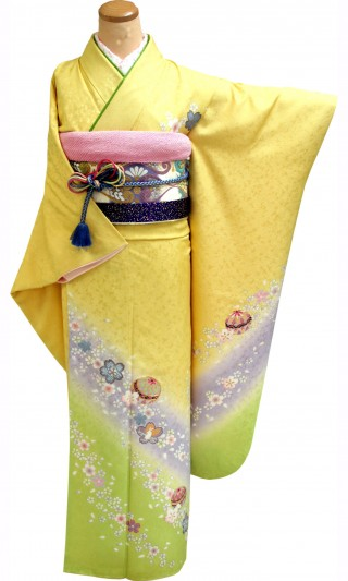 成人式振袖レンタル 23点フルセット レモン色 桜・まり(正絹・シルク100%)