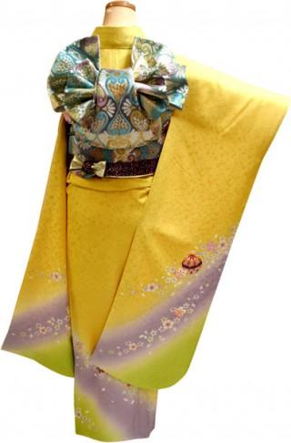 成人式振袖レンタル 23点フルセット レモン色 桜・まり(正絹・シルク100%)の衣装画像2