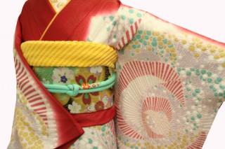振袖レンタル 23点フルセット 赤・おぼろ絞り・バラの衣装画像2