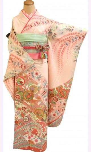 振袖レンタル 23点フルセット 辻が花模様・薄いピンク(正絹・シルク100%)