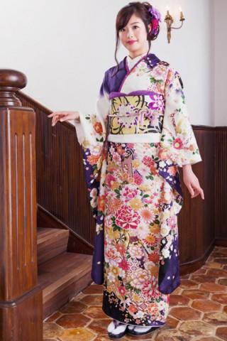 白×紺紫に艶やか花車振袖 【MKK-28011】