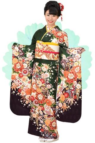 深緑地にドレッシーな桜牡丹柄振袖【MK-709】の衣装画像2