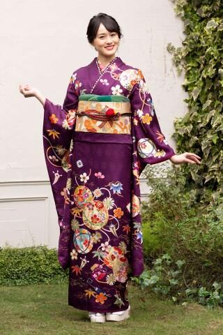 豪華鞠柄紫地の艶やか花文様古典振袖 【MK-1204】