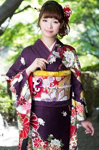 茶紫地にクールな熨斗目文振袖【MK-603】の衣装画像2
