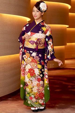 紺紫×イエローグリーン地に毬花柄振袖【MK-708】