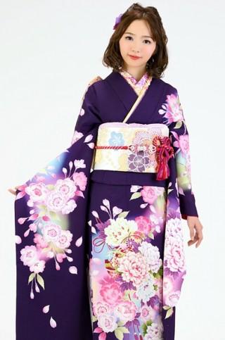 No.1412 濃紫地に大輪牡丹と桜の毬柄振袖【MK-106】