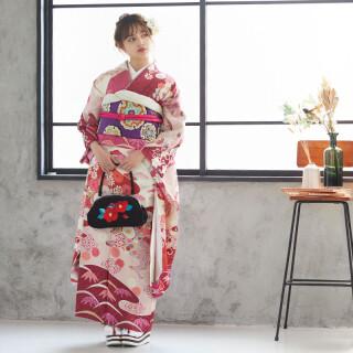 赤紫 辻が花風菊と松竹梅 (R575)の衣装画像1