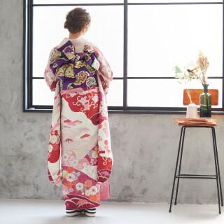 赤紫 辻が花風菊と松竹梅 (R575)の衣装画像2