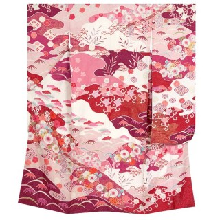 赤紫 辻が花風菊と松竹梅 (R575)の衣装画像3