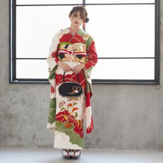 白 雲取露芝に刺繍唐花 (R703)