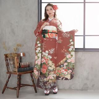 薄茶 屏風牡丹花車 (R813)