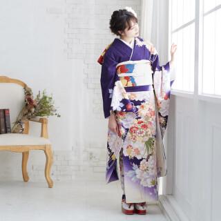 白×紫 牡丹に薬玉文様 (R1498)