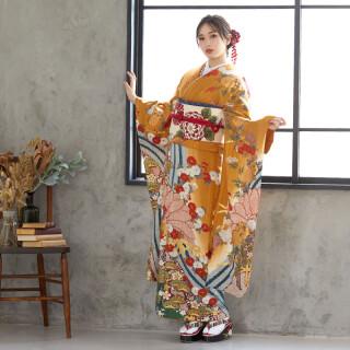 金茶 金彩波に菊花 (R792)