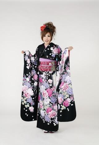 No.341 1499 黒系 白染め分け白、ピンク、青い薔薇 桂由美