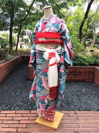 【モダンアンテナ】水色 鶴