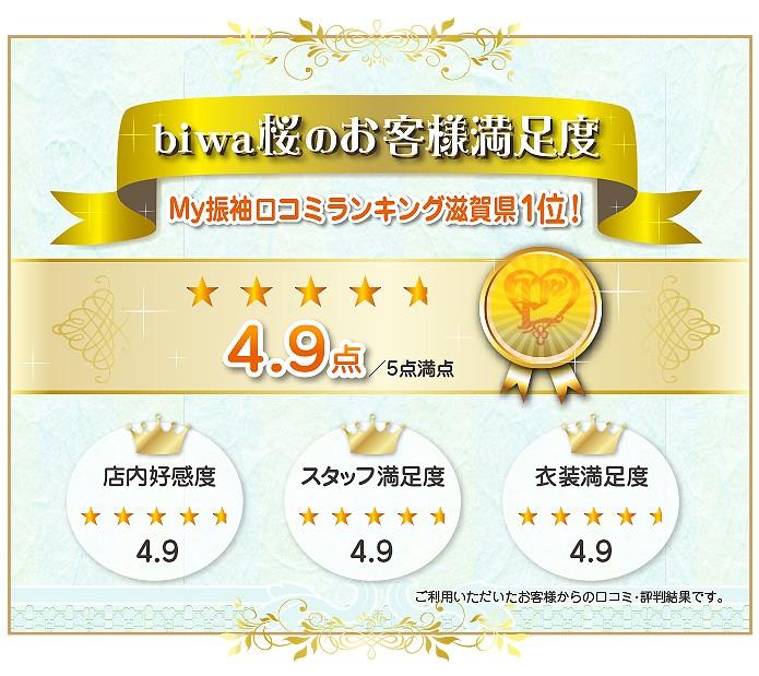 biwa桜のお客様満足度 滋賀県ではMy振袖口コミランキング1位。