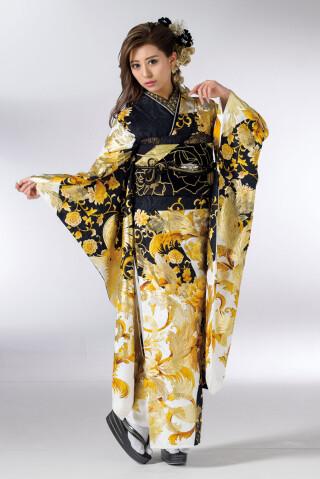 【振袖】モダン・華ギャル振袖(黒ゴールド)の衣装画像1