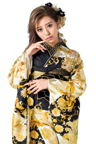 【振袖】モダン・華ギャル振袖(黒ゴールド)の衣装画像2