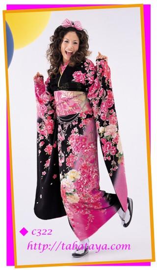 c322 黒地ピンクかわいい花柄