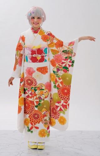 白 オレンジ*黄系柄の衣装画像2
