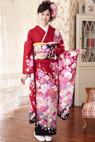 まるやま・京彩グループオリジナル振袖 赤地に黒ぼかしの大人なモダンふんわり花柄振袖の衣装画像2