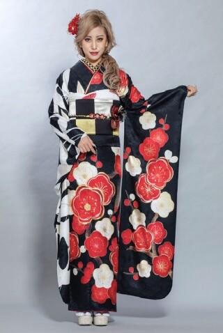 紅白の椿と鶴のキュートなレトロ柄