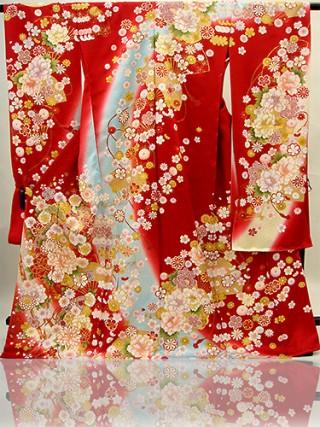 No.4538 手刺繍振袖 fu618 赤 扇