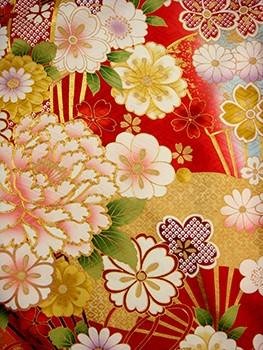 手刺繍振袖 fu618 赤 扇の衣装画像2