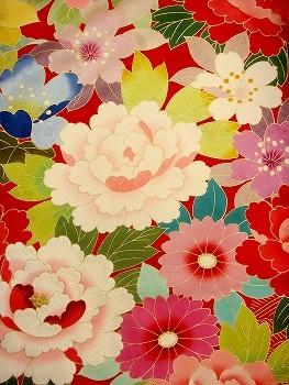 手描京友禅 赤 総柄 牡丹 菊 374の衣装画像2