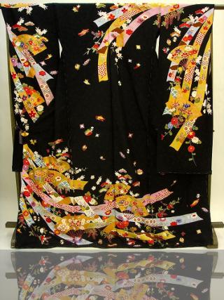 手描京友禅  黒 熨斗 扇 378の衣装画像1