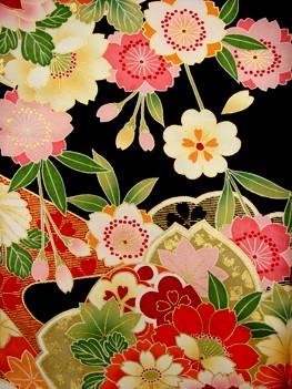 手描京友禅 こげ茶 桜 380の衣装画像2