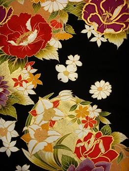 手刺繍振袖 プレミアム fu604 黒 牡丹の衣装画像2