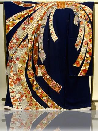 手描京友禅振袖 fu208 紺 熨斗の衣装画像1