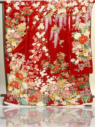 手描京友禅振袖 fu333 赤 牡丹