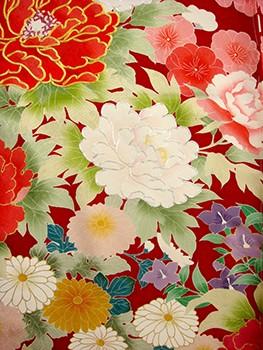 手描京友禅振袖 fu333 赤 牡丹の衣装画像2