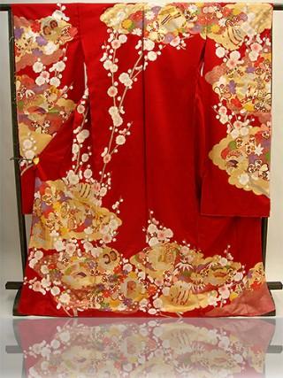 手刺繍振袖 プレミアムfu602 赤 雪輪