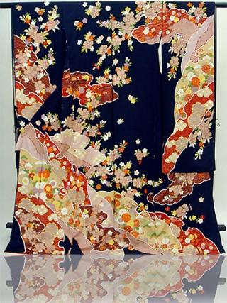 手刺繍振袖 プレミアムfu622 紺 雪輪