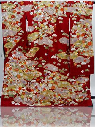 手刺繍振袖 プレミアムfu613 赤 雲どり