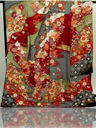 手刺繍振袖 プレミアムfu625 赤絞り