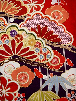 手描京友禅振袖 fu305 黒赤 松竹梅の衣装画像2