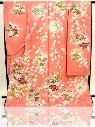手描京友禅振袖 fu203 ピンク 牡丹