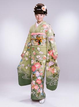 加賀友禅薄緑、鴛鴦、牡丹柄