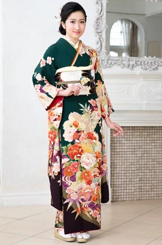 No.19127 深緑地に桜と牡丹のレトロ柄振袖 【MKK-2907】
