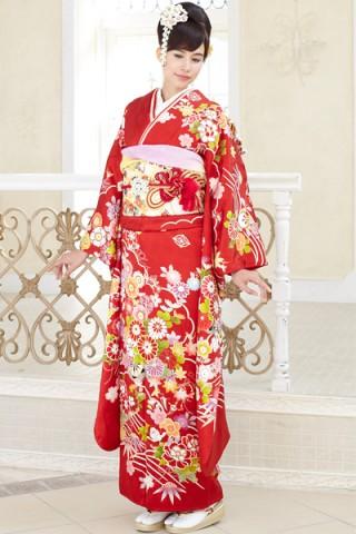 紅地に優美な四季の草花古典柄振袖【MK-2606】の衣装画像1