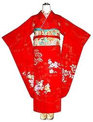 橘菊花丸紋刺繍朱赤振袖